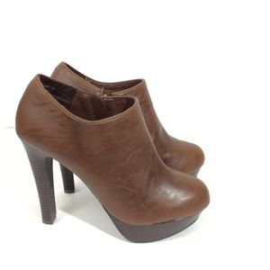 JustFab | Brown Size Zip Brown Booties Size 8.5